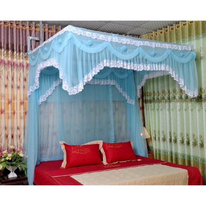 Trọn bộ màn màu xanh dương + khung inox ngang kích thước 1,6m*2m