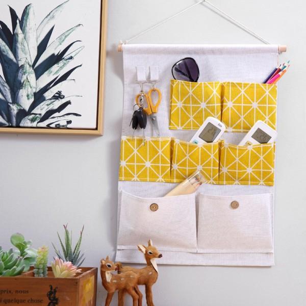 Giỏ vải treo tường 7 ngăn trang trí, đựng đồ.