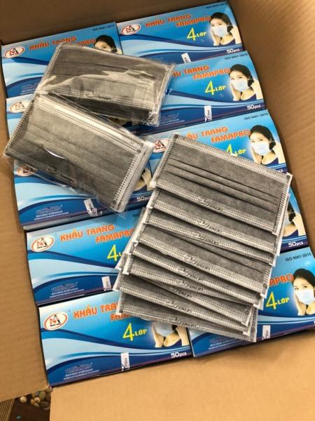 Hộp 50 cái khẩu trang y tế kháng khuẩn 4 lớp Nam Anh Famapro ( XÁM ) giá rẻ