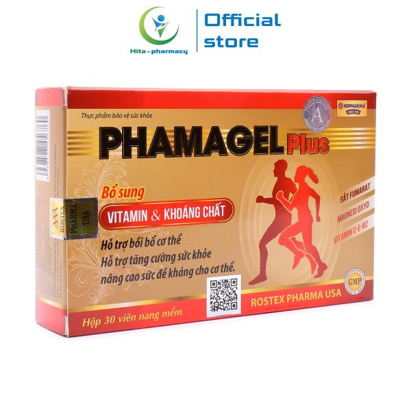 Vitamin tổng hợp và khoáng chất Phamagel Plus bồi bổ cơ thể, tăng cường sức khỏe, tăng sức đề kháng - Hộp 30 viên