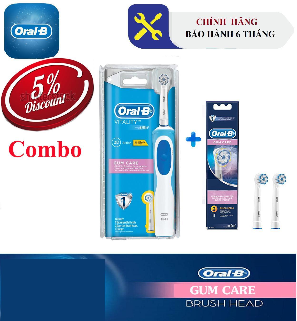 Combo chải đánh răng điện Oral-B Gumcare(Bảo hành 6 tháng) + Bộ 2 đầu Oral-B GumCare dành cho răng nhạy cảm