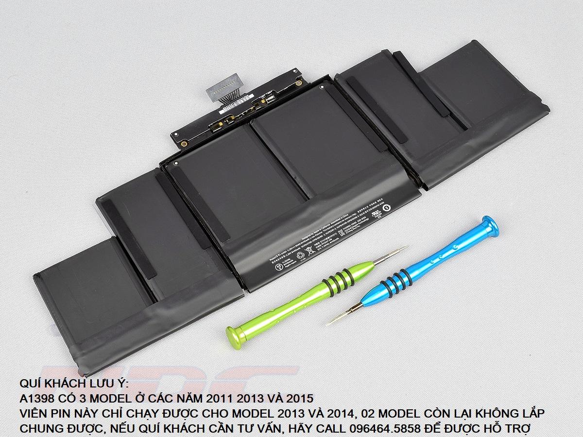 Pin Cho  MacBook Pro 15 Inch Retina A1398 Năm 2013 đến giữa 2014 và ME293  ME294  Mã Pin A1494 Hàng Mới 100%