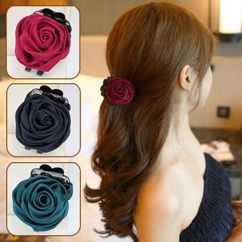 Kẹp tóc hoa hồng nhiều màu giá rẻ