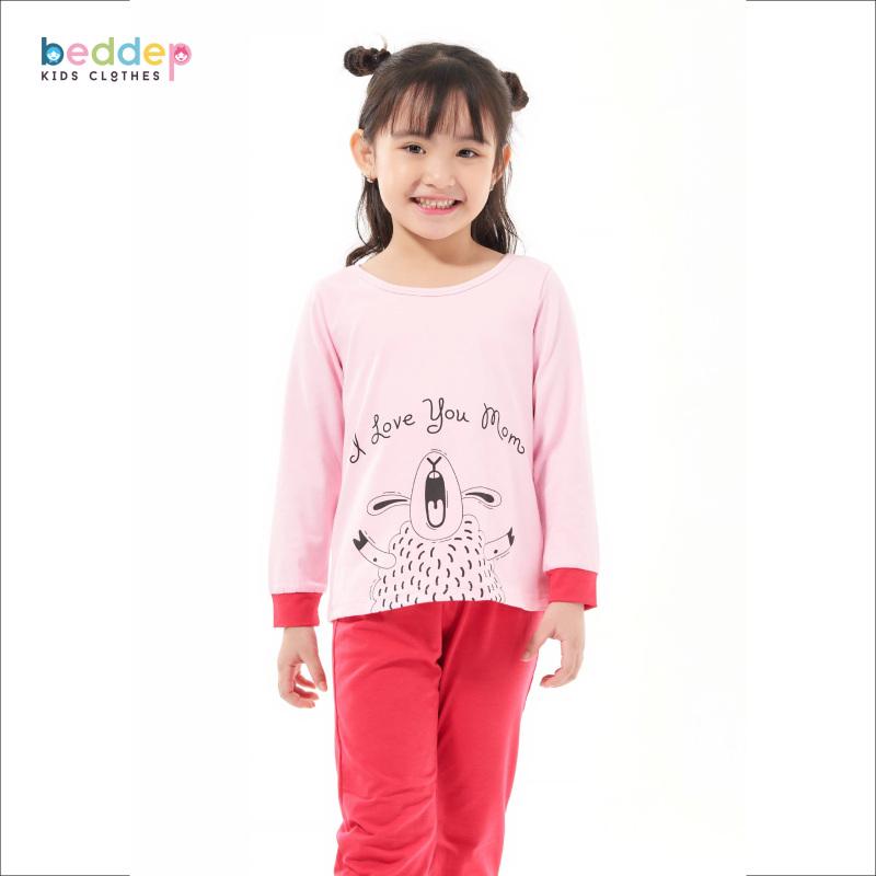 Nơi bán Đồ bộ Beddep Kids Clothes chất thun in hình cừu cho bé gái từ 1 đến 8 tuổi G12