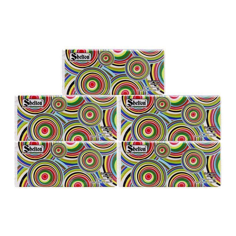 Offer Khuyến Mãi Combo 5 Gói Khăn Giấy Soft Pack 2 Lớp Shelton Hoa Văn Tròn 19 X 20 Cm (250 Tờ)