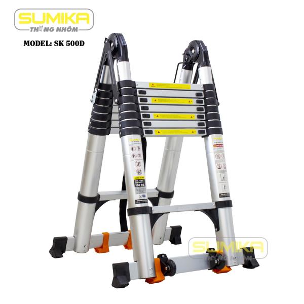 Thang nhôm rút đôi Sumika SK 500D NEW , Thang rút nhôm chữ A, Thang đa năng 2,5m - 5m