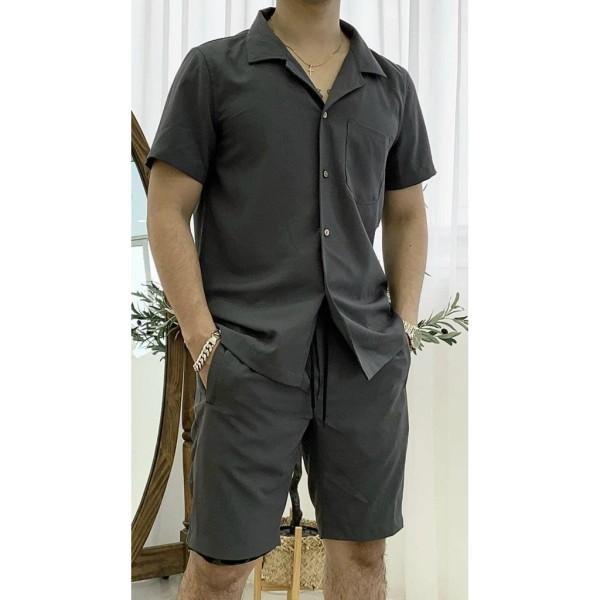 Nơi bán Bộ quần áo nam ngắn tay mùa hè, bộ đồ nam chất vải tằm Thái mặc mát thoải mái, lịch sự - B03