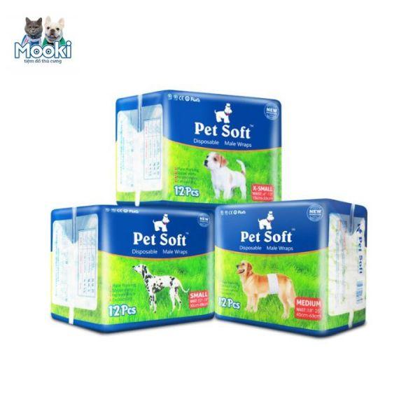 Tã cho chó, Bỉm Cho Chó Đực Pet Soft 1 bịch 12 chiếc Mooki Pet