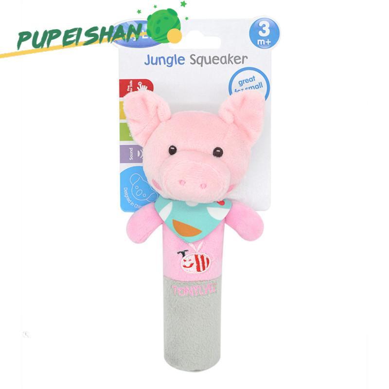 นุ่มการออกแบบสัตว์การ์ตูนตุ๊กตากำมะหยี่มีเสียงกระดิ่งมือทารกเด็กวัยหัดเดิน BB ไม้ของเล่น