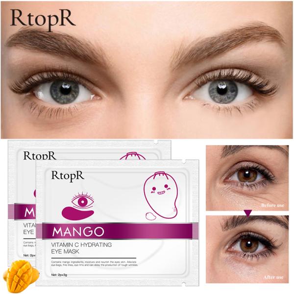 RtopR 2 miếng mặt nạ mắt làm từ xoài dùng để dưỡng ẩm chống lão hóa da mắt giúp loại bỏ nếp nhăn và quầng thâm cung cấp vitamin C cho vùng da quanh mắt - INTL