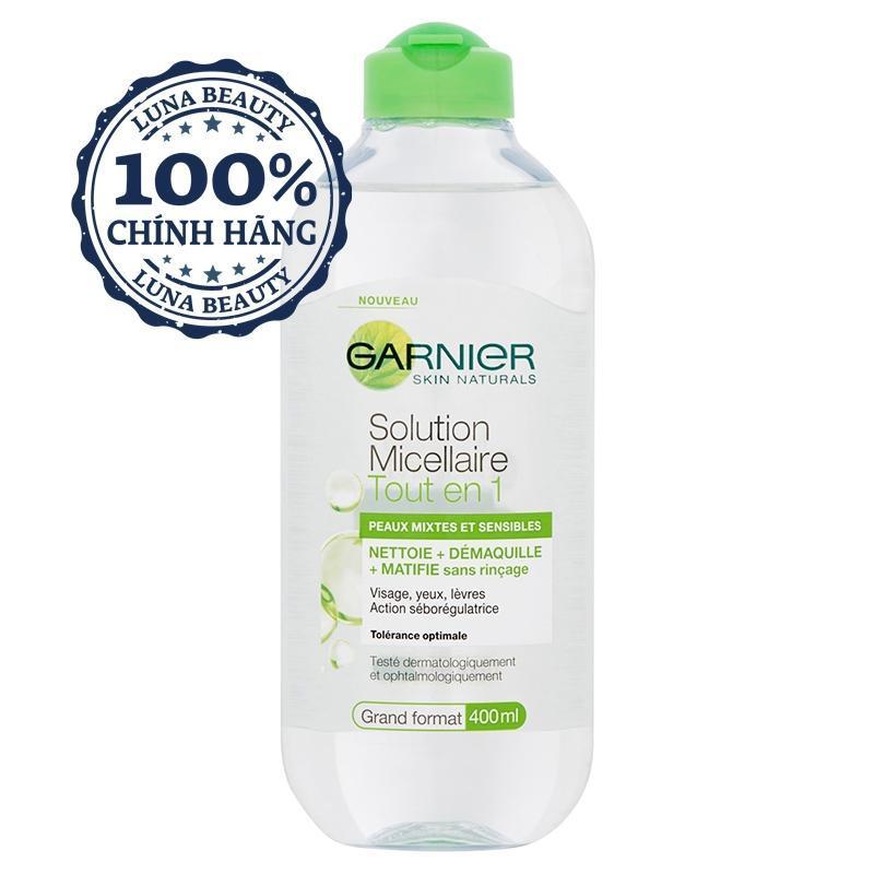 Nước Tẩy Trang Garnier Skin Active Solution Micellaire Xanh Lá 400ml cao cấp