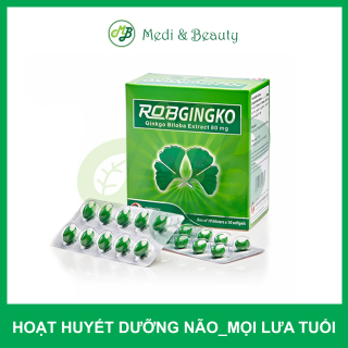 Thực phẩm chức năng hỗ trợ tuần hoàn não,hoạt huyết,tan máu đông ROBGINGKO - MediBeauty - Robinson Pharma Usa-Hộp 100 viên thumbnail