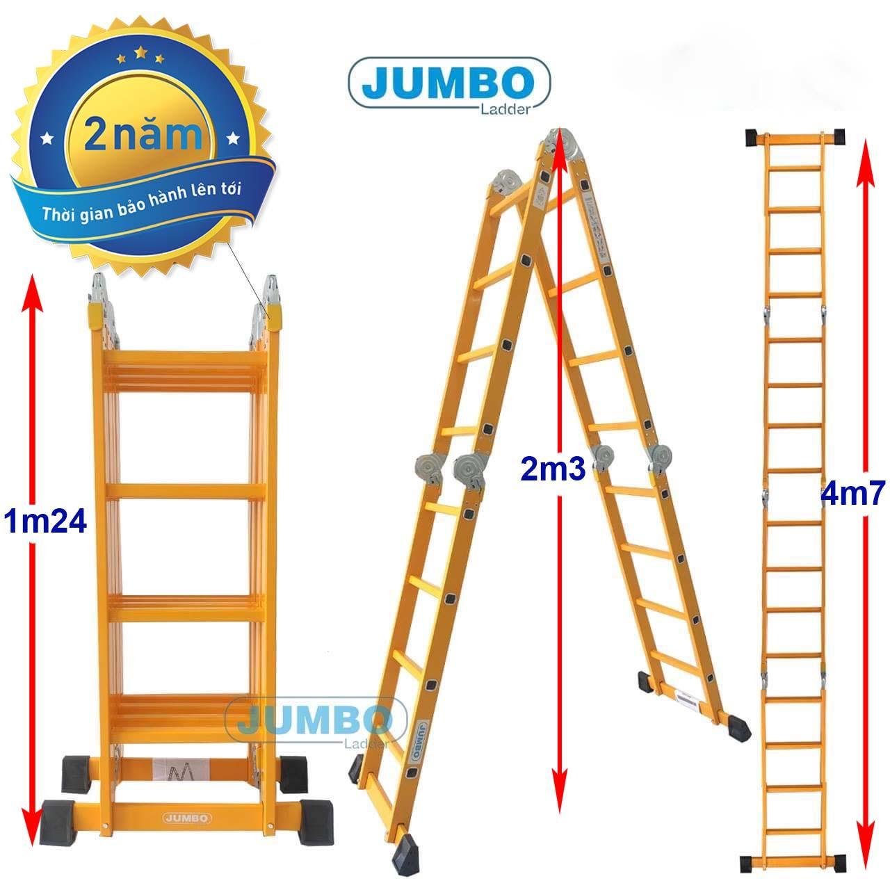 Thang nhôm gấp 4 đoạn 4m7 JUMBO B304