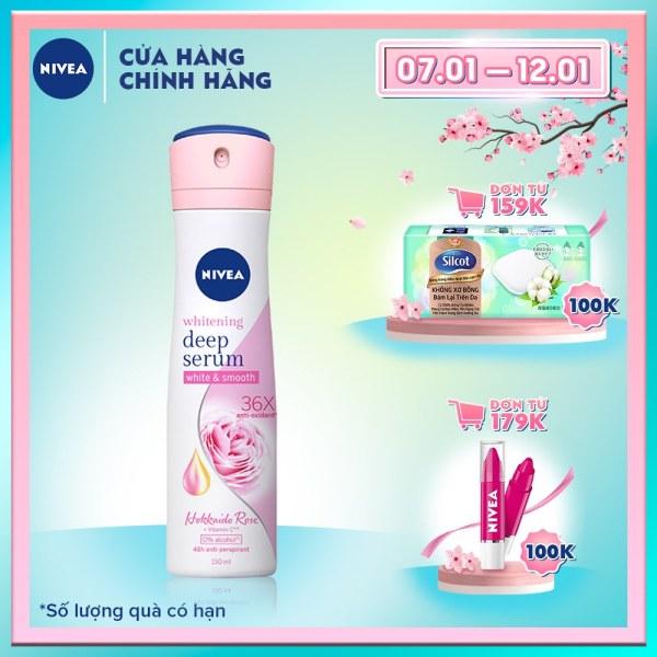 Xịt Ngăn Mùi Nivea Whitening Deep Serum Hokkaido Rose Spray 150ml 85304 cao cấp