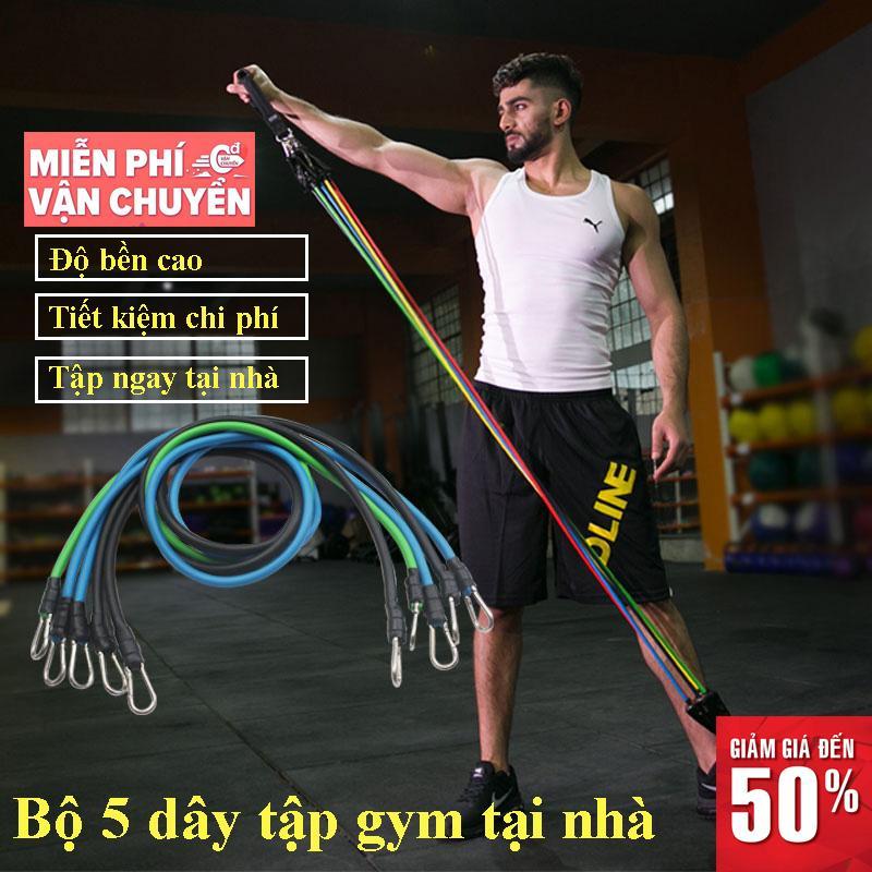 Bảng giá Bộ 5 dây đàn hồi tập thể hình cao cấp, dây tập thể dục, dụng cụ tập gym, tập thể dục tại nhà.