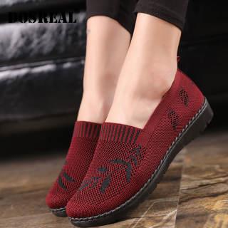 Giày Nữ Dosreal Giày Đế Bằng Giản Dị Giày Thể Thao Thời Trang Giày Lười Dệt Kim Giày Đế Bằng Giày Đi Bộ Nữ