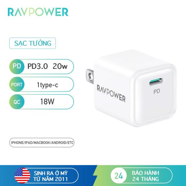 Củ sạc RAVPower iPhone 12 Super Nano, củ sạc treo tường 1 gói 20W USB C PD, RP-PC150