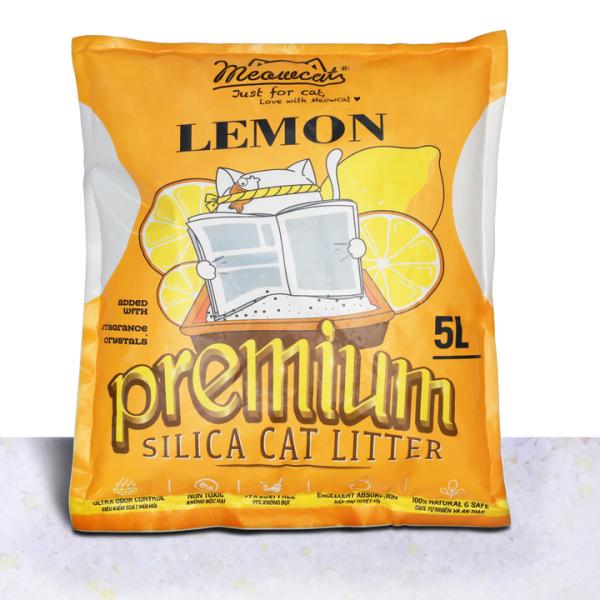 Meowcat- Cát thủy tinh cho mèo hương chanh 5l/ Silica gel cat litter lemon scent 5l