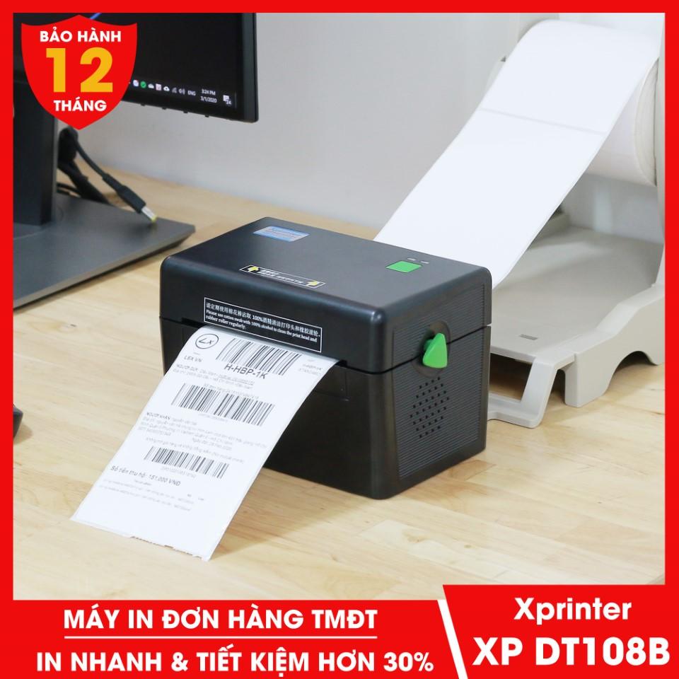 Máy in đơn hàng TMĐT Xprinter XP DT108B với công nghệ in nhiệt không dùng mực tiết kiệm 30% chi phí in tem vận chuyển phiếu giao hàng mã vận đơn các sàn TMĐT web app vận chuyển và các loại tem nhãn mác có keo tự dán - Dâu Mart Printer