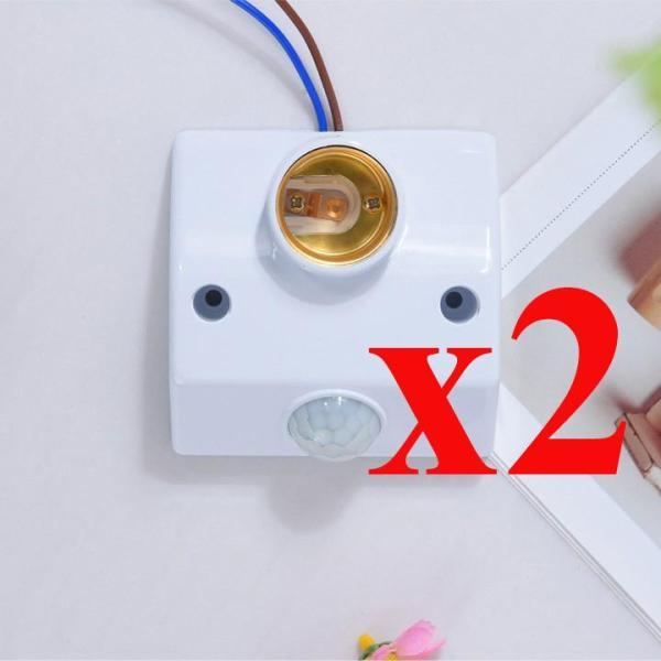 Bộ 02 đui đèn cảm ứng chuyển động hồng ngoại E27, công tắc cảm biến hồng ngoại, công tắc điều khiển từ xa