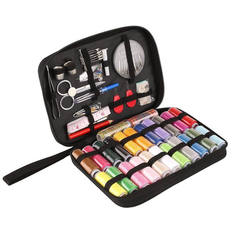 Sewing Kit, DIY Sewing Supplies with 94 Sewing Accessories, Portable Sewing Kit for Beginner, Traveller and Emergency Clothing Fixes, with Premium Black Carrying Case