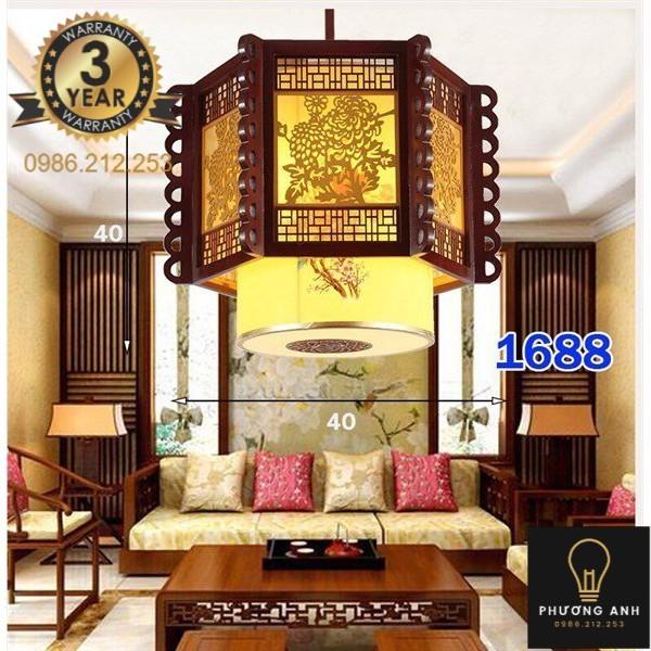 Bảng giá Đèn lồng gỗ thả bàn ăn, trang trí phòng bếp, phòng khách sang trọng cổ điển mã 1688- Đèn Phương Anh