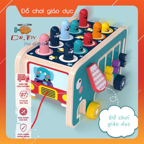 DrToy - Bộ đồ chơi trẻ em 4 trong 1 mẫu mới nhất 2020 gồm: đập chuột, xếp số, xoay bánh răng, ô tô kéo giúp bé chất liệu gỗ an toàn, giúp trẻ vừa chơi vừa học