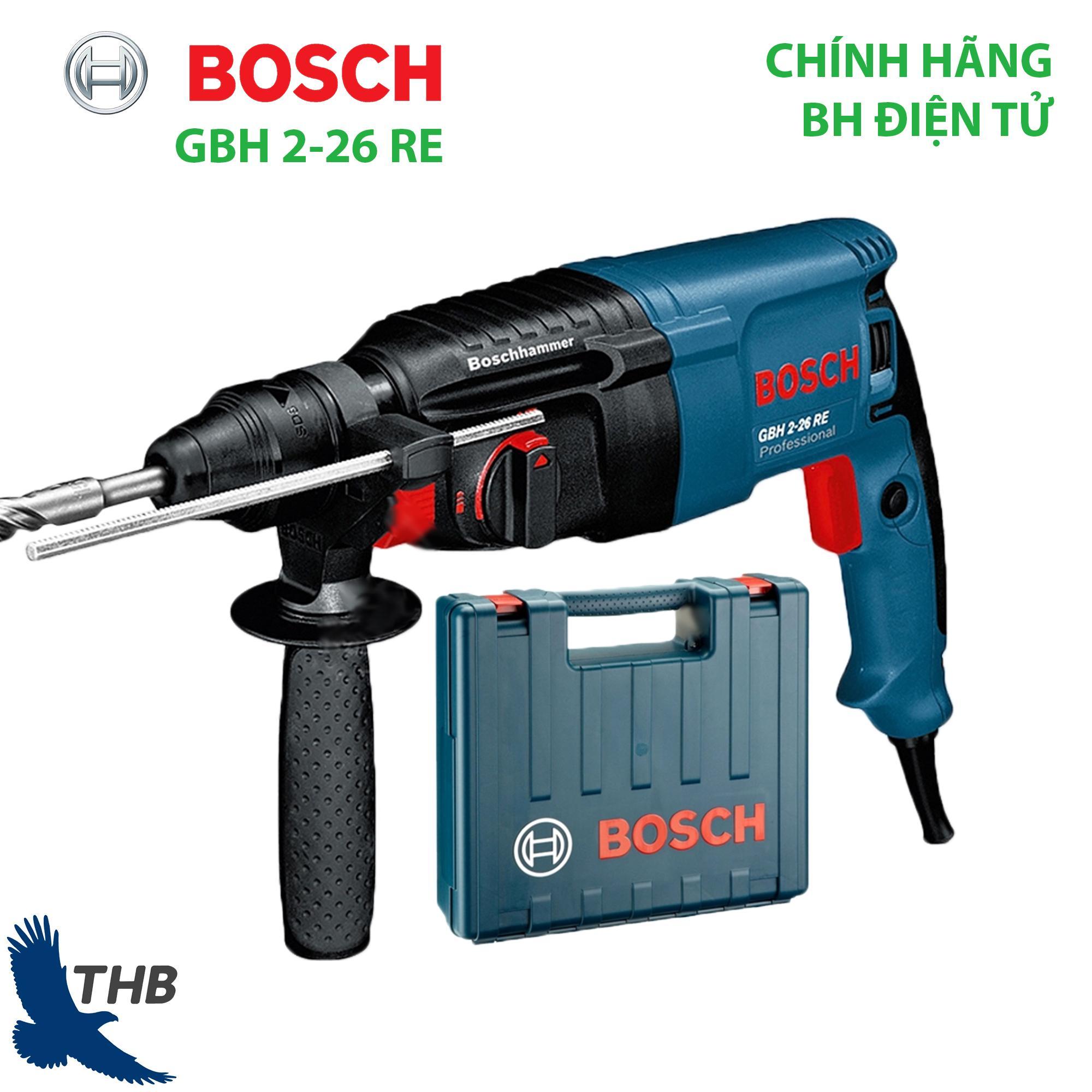 Máy khoan bê tông máy khoan Búa Máy khoan tường Máy khoan đa năng Máy khoan Bosch chính hãng GBH 2-26 RE (Công suất 800W Bảo hành điện tử 12T, xuất xứ Malaysia Khoan bê tông tối đa 26mm) 3 Chức năng khoan xoay Khoan búa và Công tắc điện tử