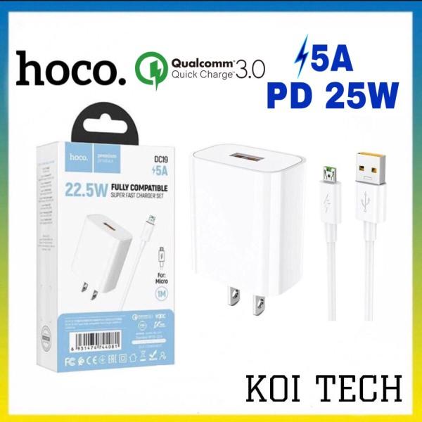Bộ củ sạc kèm dây sạc nhanh 5a micro usb Hoco nx19 hỗ trợ sạc qc 3.0 pd 22,5w - cốc sạc kèm cáp sạc cho oppo xiaomi huawei,...