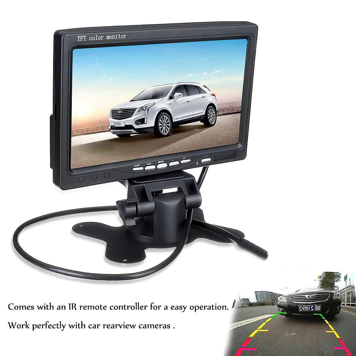 Màn hình hiển thị camera lùi, màn hình taplo 7 inch điện áp 12V-24V có 2 cổng AV, kèm điều khiển từ xa, màn hình màu dạng TFT-LCD cho hình ảnh camera sắc nét