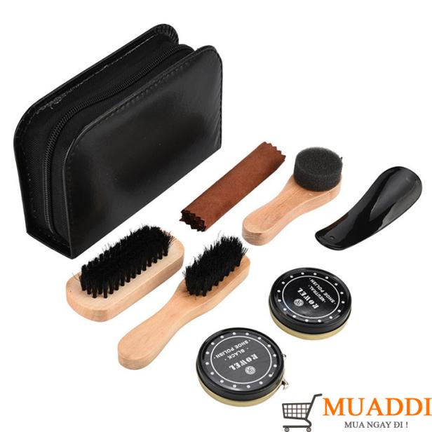 Bộ dụng cụ đánh bóng giày dép da 7 món gồm xi bóng, xi giày đen, bàn chải và miếng lau chuyên dụng FULL BOX da siêu xịn giá rẻ