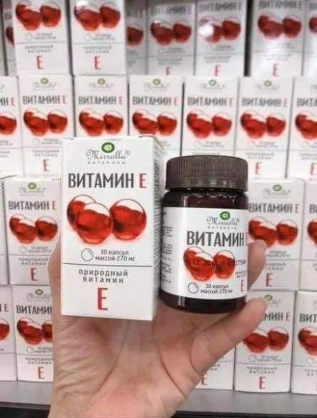 Viên Uống Vitamin E Đỏ Nga Mirrola 270mg, Viên Uống đẹp Da điều tri Nám, Mụn Trứng Cá