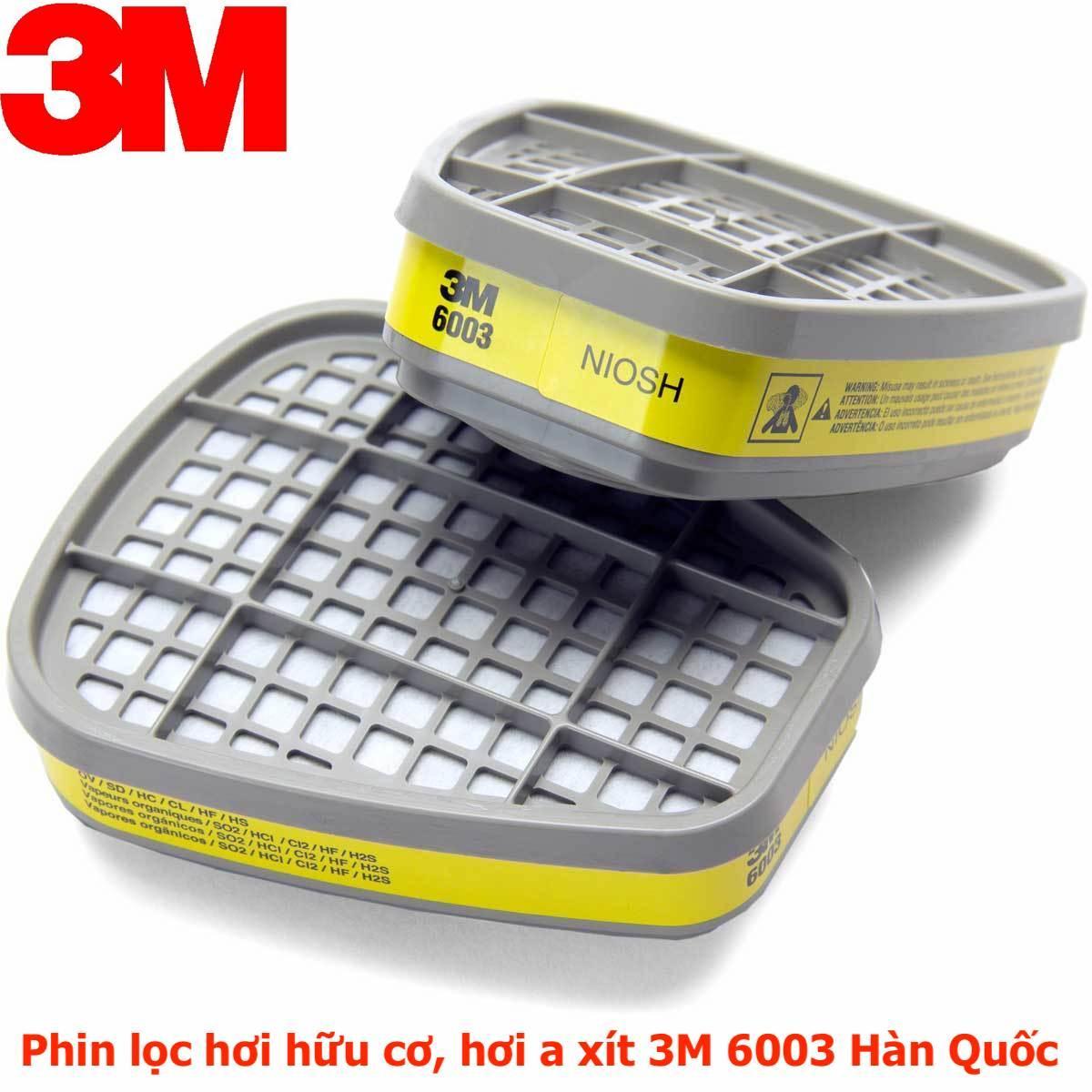 Phin lọc 3M 6003 lọc hơi hữu cơ hơi trong môi trường khí axit tương thích với các loại mặt nạ 3M 6100, 3M 6200, 3M 7501, 3M 7502, 3M 6800 hàng xuất sứ 3M Hàn Quốc