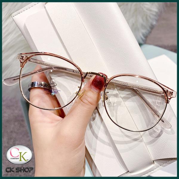 Giá bán Gọng kính cận nam nữ mắt tròn kim loại/nhựa 10209 màu đen, nâu, xám. Tròng kính giả cận 0 độ chống ánh sáng xanh, chống nắng và tia UV (Tia cực tím)