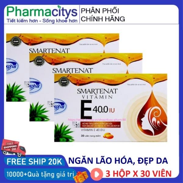 Combo 3 hộp Vitamin E 400 IU viên uống trắng da chống lão hóa hộp 30 viên đạt chuẩn GPP