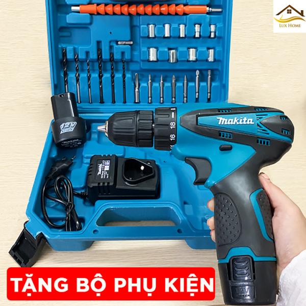 [ Tặng bộ phụ kiện 24 chi tiết ] Máy Khoan Pin Makita 12V - máy khoan pin 12v giá rẻ - máy bắn vít, máy khoan cầm tay pin , máy bắt vít, máy khoan mini