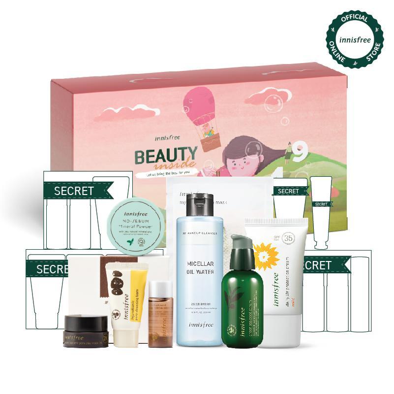 [Phiên bản đặc biệt BEAUTY INSIDE Box 2019 ] Bộ sản phẩm chăm sóc toàn diện: tẩy trang, chống nắng, kiềm dầu và dưỡng ẩm Innisfree Beauty Inside Box 4 - Khám phá quà tặng may mắn khi mở hộp