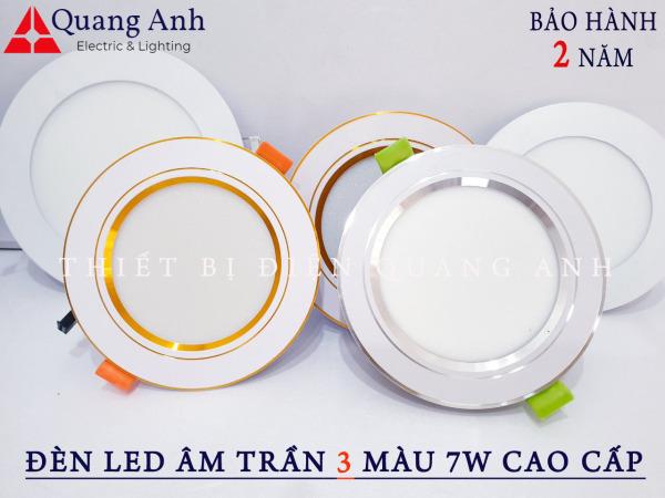 Bộ 10 Đèn Led Âm Trần 3 màu 7w Cao cấp. Ánh sáng: 3 chế độ ánh sáng trắng / vàng / trung tính