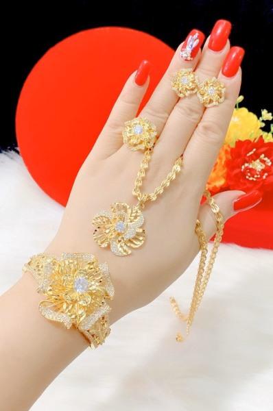 Bộ Trang Sức Hoa Xoáy Giá Rẻ - Givishop - B4170518 - [ Chất liêu bạc pha, cam kết không đen không dị ứng ] - bộ trang sức vàng 18k, vàng trang sức, bộ trang sức vàng tây, bộ trang sức vàng trắng, bộ trang sức vàng, bộ trang sức cưới