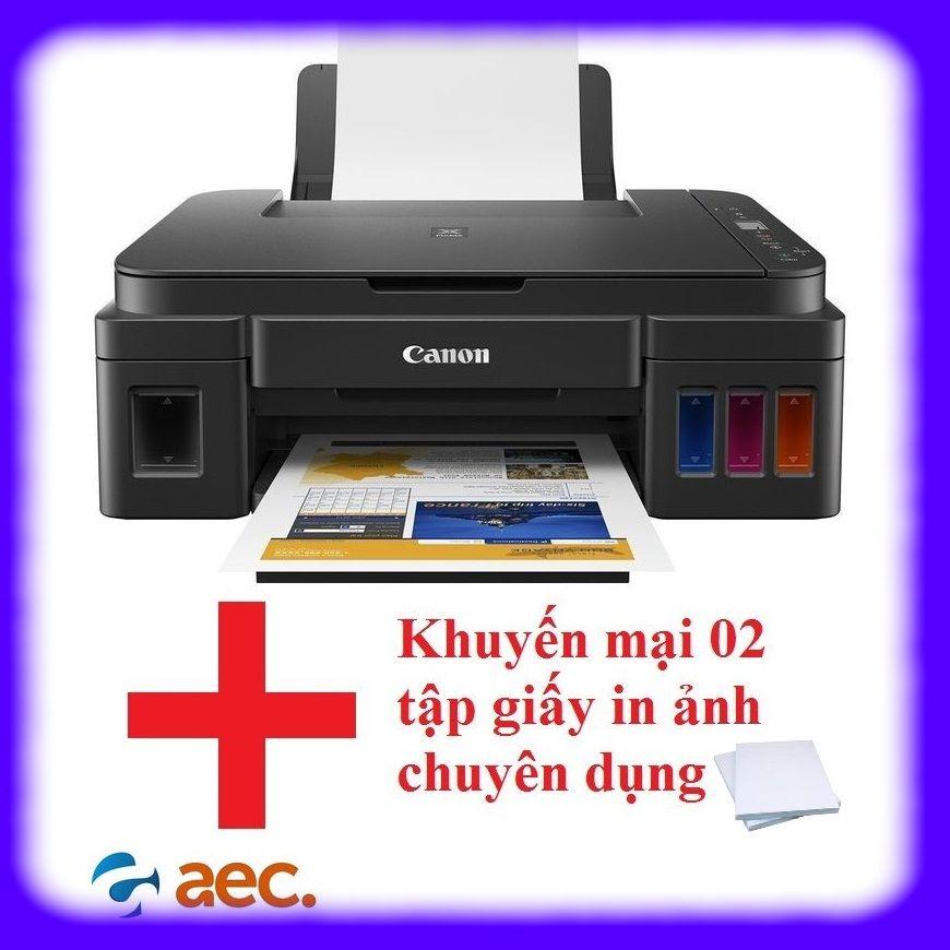 Máy in phun màu Canon G2010 đi kèm 4 bình mực Hàn Quốc (in/scan/copy) + Khuyến mại 2 tập giấy in ảnh chuyên dụng cho máy in
