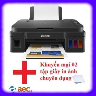 Máy in phun màu Canon G2010 đi kèm 4 bình mực Hàn Quốc (in scan copy) + Khuyến mại 2 tập giấy in ảnh chuyên dụng cho máy in thumbnail