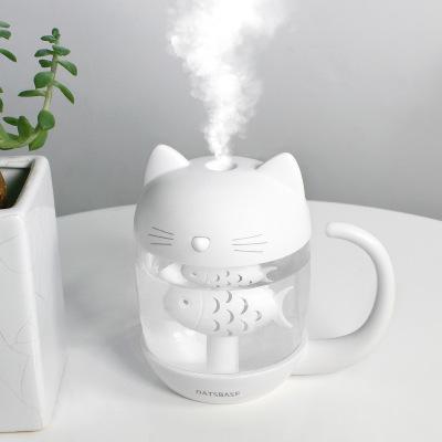 Giá Máy Phun Sương/ Tạo Ẩm Con Mèo thích Con Cá Kết nối cổng USB , kết nối Đèn và Quạt 3 in 1 . Dùng làm đèn ngủ