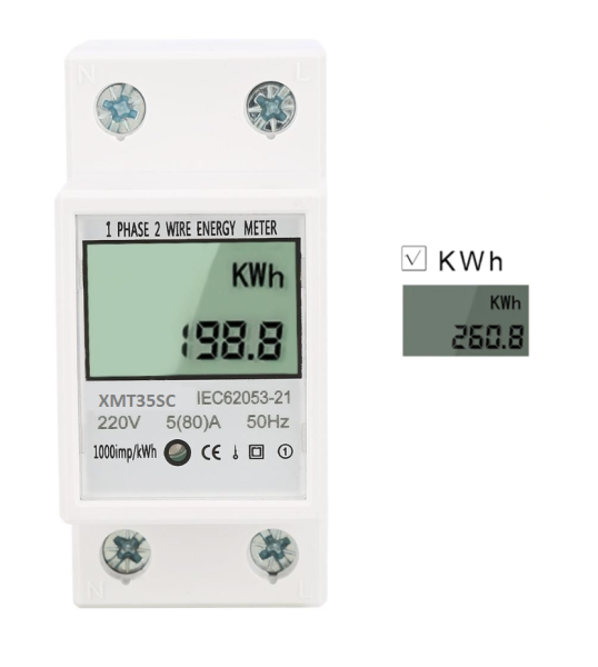 Công tơ điện 220V-80A đo lượng điện tiêu thụ (KWh).Thiết bị đo số điện tiêu thụ,đồng hồ đo điện 1 pha
