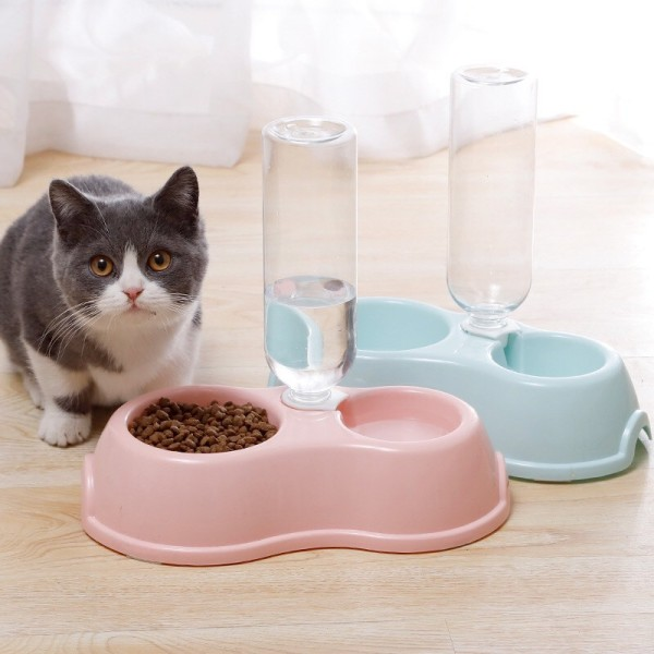 Bát ăn đôi có bình nước tự động cho chó mèo