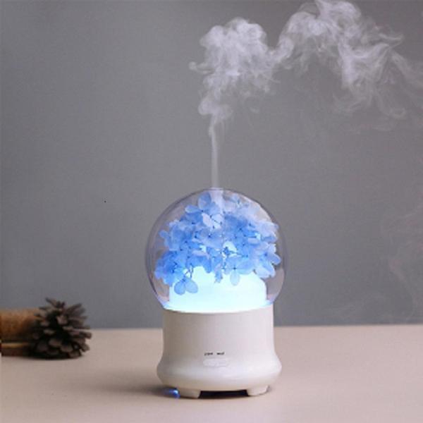 Máy phun sương khuếch tán tinh dầu kiêm đèn ngủ + Trang trí đẹp với hoa khô và đền 7 màu SIÊU ĐẸP