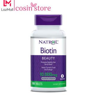 Viên uống Natrol Biotin Beauty Maximum Strength 10,000mcg 100 viên hỗ trợ tóc móng da khỏe biotin 10000 thumbnail