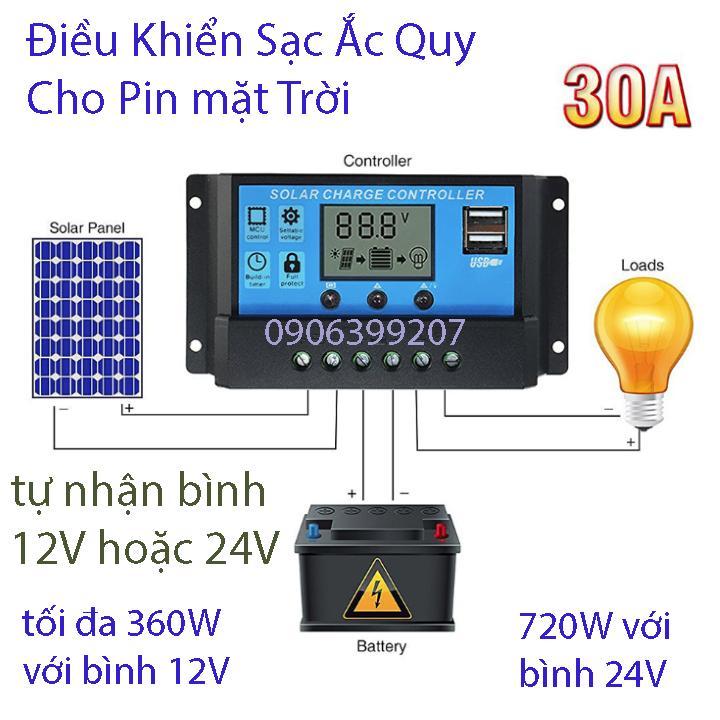 mạch sạc ắc quy cho pin năng lượng mặt trời 30A