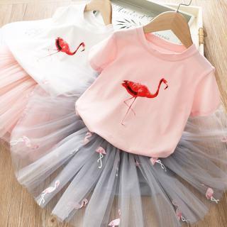 NNJXD Váy bé gái Bộ quần áo cho bé gái 2020 Mùa hè Công chúa Girl Flamingo Top + Lưới Tutu Váy 2 cái Bộ Trẻ em Quần áo Trang phục Trang phục Thường ngày