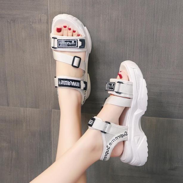 Sandal nữ quai ngang FS-RAW - dép quai hậu nữ đi học 2 màu đen trắng đế bánh mì bệt sandal ulzzang hàn quốc đẹp giá rẻ giá rẻ