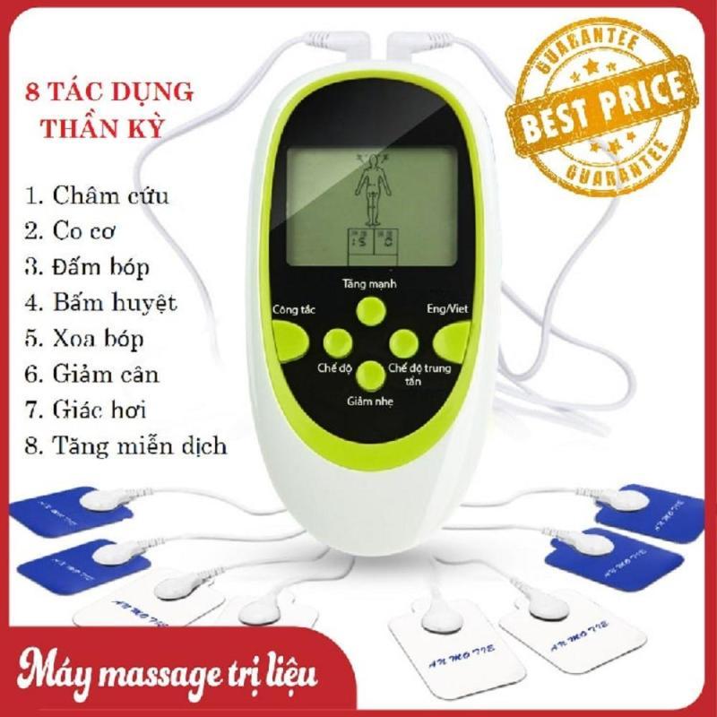 May Mat Xa Xung Dien - Máy Massage trị liệu xung điện 8 miếng dán Cao Cấp, May mat xa toan than, Máy massage trị liệu 8 miếng dán, xoa bóp, châm cứu, bấm huyệt